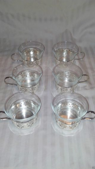 Bmf Silverplate Brass Glass Cup 12pc Set Wedding Filigreed German Svc 6 photo