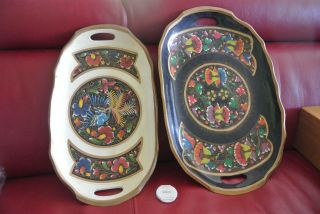 Vintage Pair Hand Painted Wooden Black,  White & Colored Serving Decorator Trays photo