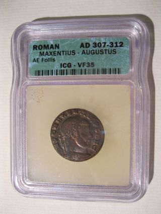 Roman Maxentius - Augustus Coin 307 - 312ad Icg - Vf35 Best Deal & Great Example photo