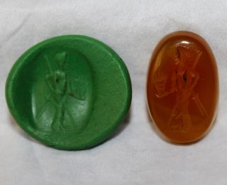 British Found Roman Period Carnelian Intaglio Of Legionary photo