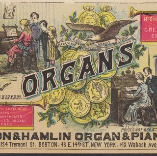 Chaffin Fitchburg Baby Organ Mason & Hamlin Piano Co Victorian Advertising Card photo