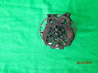 Antique Owl & Metal Shipswheel Trivet Stand Rare Ast Iron photo