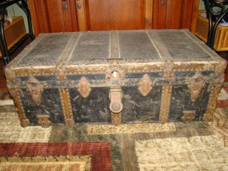 Antique Wood & Leather Steamer Trunk,  J.  H.  Mcnamara Trunk Works,  Chicago photo