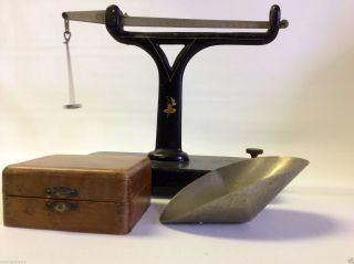 Vtg Iron Brown & Sharpe Mfg Scale With Wood Box Case & Weights photo