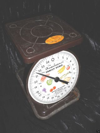Vintage 1975 Rustic Brown Metal American Family Scale Weighs Up To 25 Lbs By Oz photo