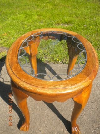 Antique Wood - Oval End Table W/clawed Feet & Raised Metallic Design On Glass Top. photo