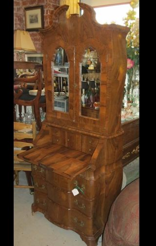 Antique Italian Burl Wood Bookcase Secretary photo