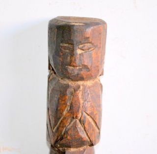Vintage Old Praying Posotion Wooden Crafted Collective Statue photo