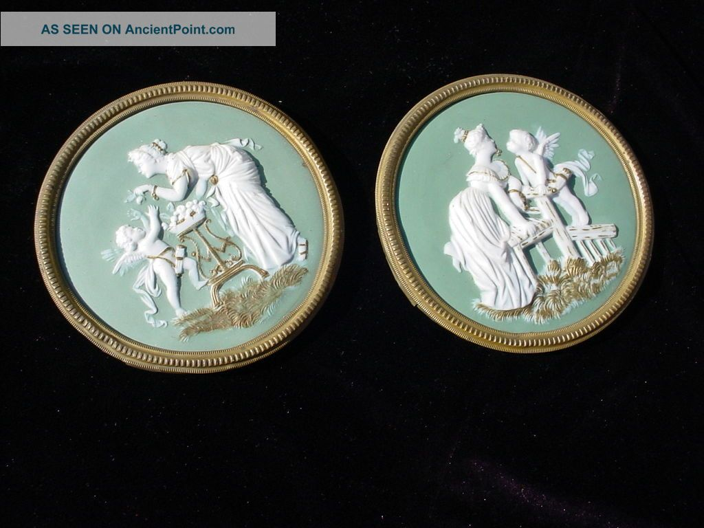 German Jasperware? American?neo Classical Cherub Brass Frames Gold Trim Walrath? Native American photo
