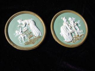 German Jasperware? American?neo Classical Cherub Brass Frames Gold Trim Walrath? photo