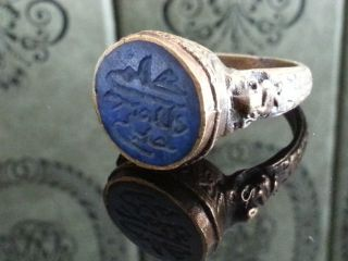 Antique Solid Brass Ornamented Ring Wax Seal Stamp Arabic Letters In Blue Stone photo
