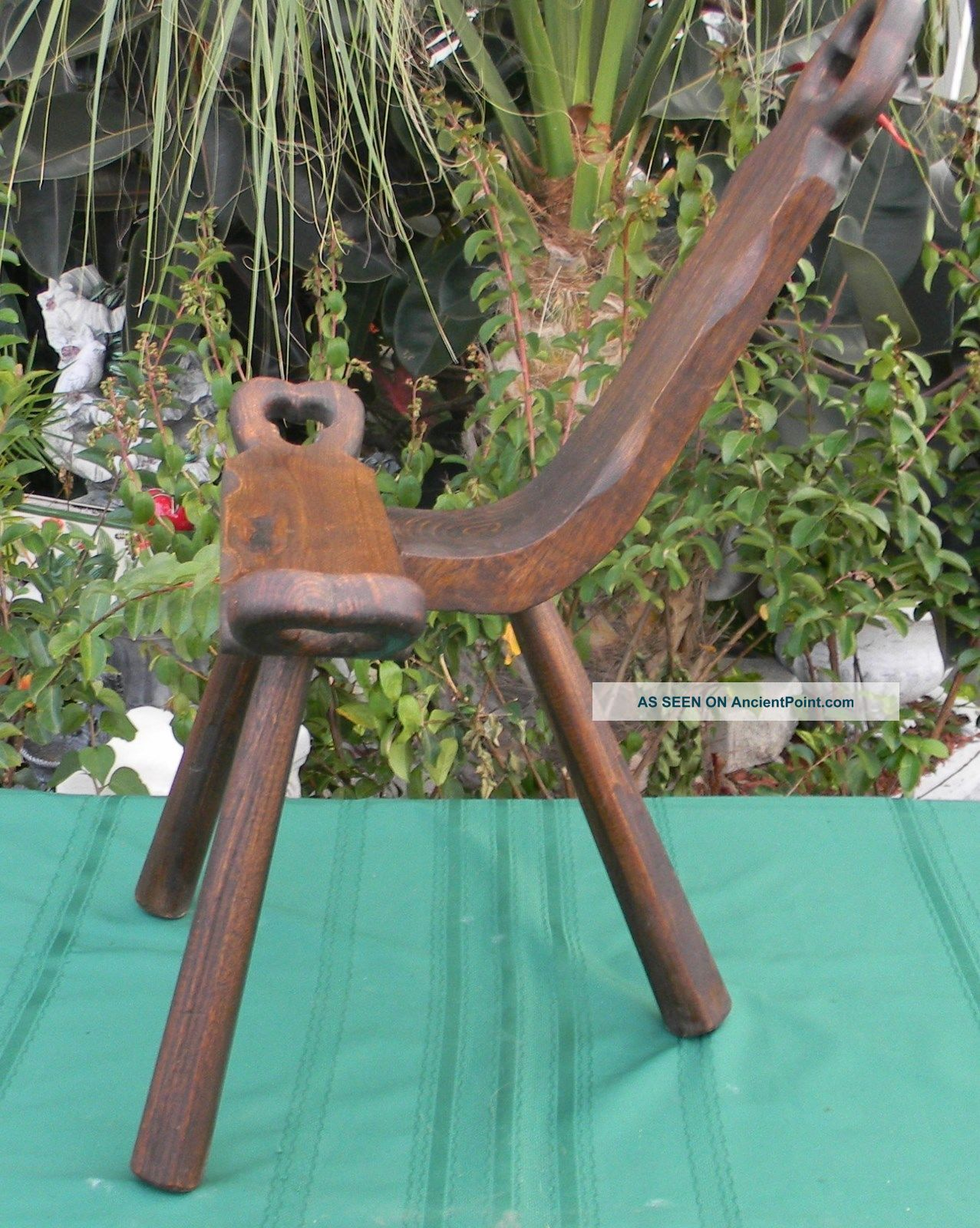Primitive Birthing Chair Handcrafted Three Legged Walnut Wood Wooden ...