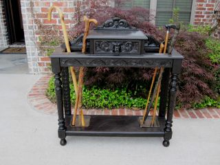 Antique English Ebonized Oak Gothic Umbrella Stand Entry Hall Tree Stick Stand photo
