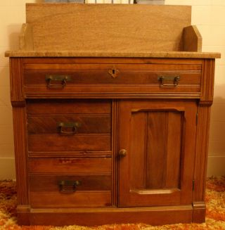 Antique Victorian Bathroom Washstand With Colored Marble W/splashback photo