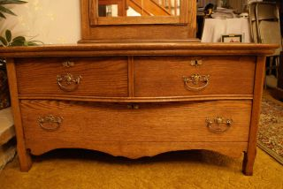 Antique Very Rare Victorian Princess Dresser Unusual Golden Oak photo