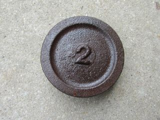 Antique Cast Iron Weight 2 Pound Vintage Scale Weight Platform Scale photo