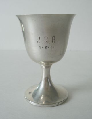 Vintage Watson Co Solid Sterling Silver Goblet Engraved 4