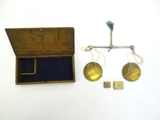 Antique Old Small Wood Wooden Hinged Box Hanging Scale Set Weights Parts photo