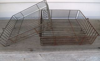 2 Vintage Industrial Steampunk Rusty Wire Office Letter Trays 9 1/2