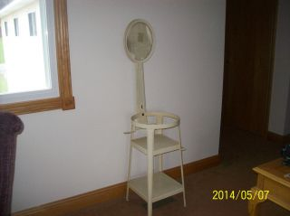 European Antique Art Deco Metal Wash Basin Tiered Tall Stand With Mirror photo