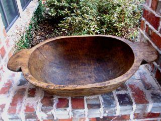 Antique French Primitive Carved Pine Wood Dough Bowl Farm Table Trough 40 photo