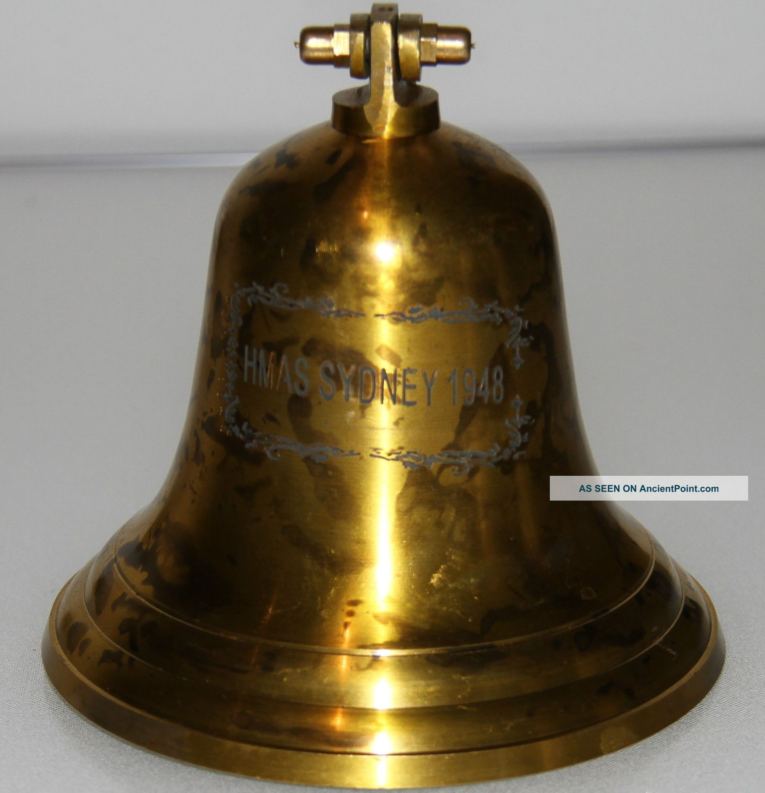 Antique Solid Brass Naval Ships Bell From The Hmas Sydney Ship Equipment photo