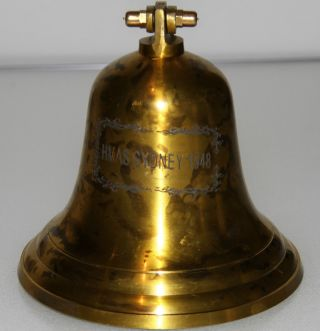 Antique Solid Brass Naval Ships Bell From The Hmas Sydney photo