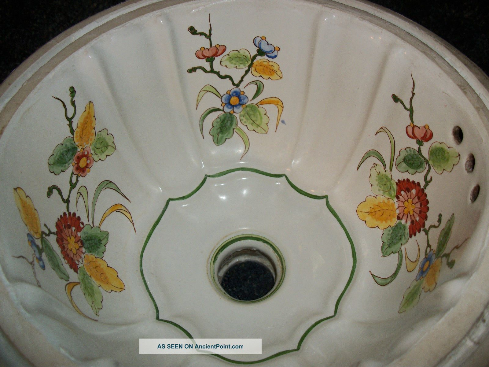 Hand Painted Sinks : ... Italian Porcelain Undermount Sink Hand Painted Flowers Plumbing photo