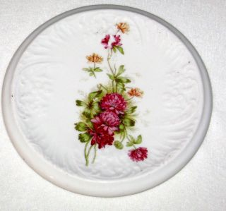 Antique Porcelain Teapot Tile Trivet Colorful Flower Bouquet Embossed Flowers photo