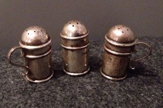 Antique Birmingham England Sterling Silver Set 3 Shaker Miniatures photo