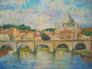 Listed Painting Impressionist Rare Italy Rome The Tiber Coa 9