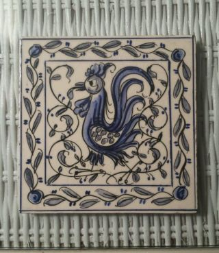 Vintage Rooster Tile I Portugal Blue & White Outeiro Agueda photo
