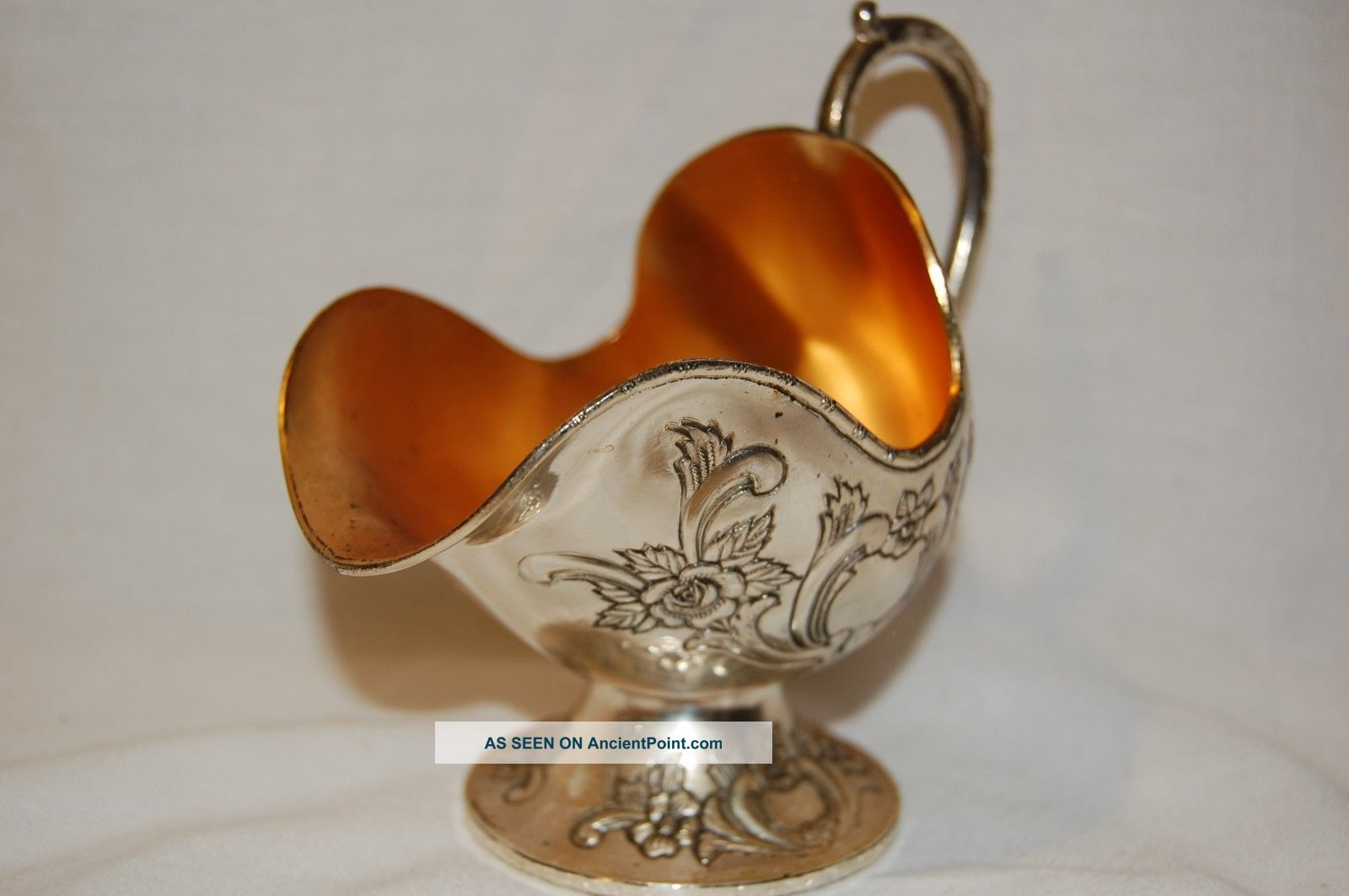 Vintage Pedestal Coal Scuttle Sugar Bowl Silver Goldplate From Japan Collectible Creamers & Sugar Bowls photo