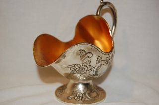 Vintage Pedestal Coal Scuttle Sugar Bowl Silver Goldplate From Japan Collectible photo