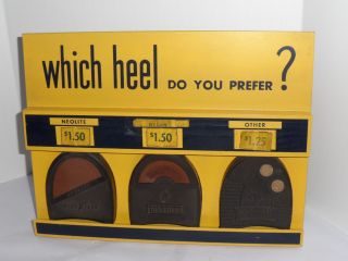 Vintage 1950s - 60s Shoe Repair Store Goodyear Heels Counter Display Sign Prices photo