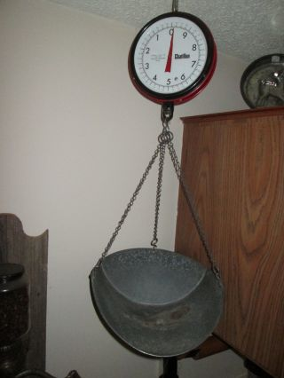 Vintage Chatillon Double Face Hanging Scale Capacity 20 Lbs.  X 1 Oz.  W/ Scoop. photo