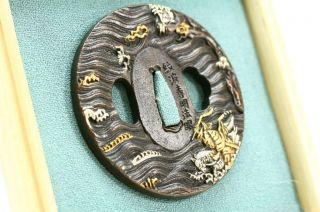 Japanese Antique Tsuba Samurai Katana Sword Edo With Kiri Box Stand Mint 004 photo