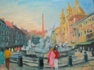 Listed Oil Painting Italian Art Rome Piazza Navona Coa 9