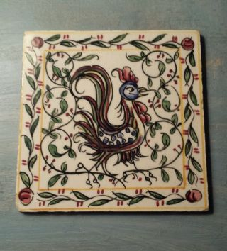 Vintage Rooster Tile Portugal Cranberry,  Green,  Yellow,  & White Outeiro Agueda photo