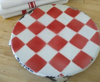 Vintage French Round Enameled Trivet White With Red Checks Rare Pattern photo