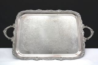 Exceptional Fine Huge Silver Plate Serving Tray - 30