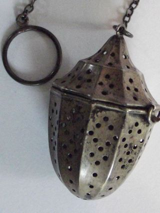 Old Lantern/acorn Style Sterling Silver Tea Ball Strainer With Chain photo