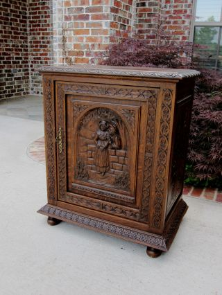Antique French Carved Oak Breton Brittany Cabinet Jam Cupboard Wine Bar Chest photo