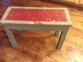 Wood Bench Vintage Antique Country Shabby Chic Style,  Porch Grey And Red photo