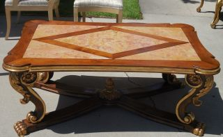 Italian Mahogany Designer Coffee Table W Inlaid Marble & Gilt Claw Feet photo
