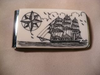 Scrimshaw Resin Money Clip Side Ship - Compass Rose photo