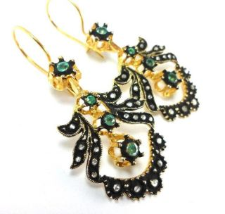 Rose Cut Diamond And Emerald Gold Plated Vintage Look Turkish Jewelry Earrings photo