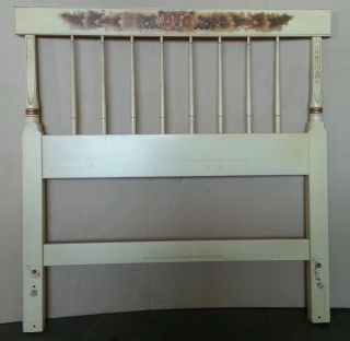 Vtg Hitchcock Harvest Paint Decorated Solid Twin Size Headboard Bed,  Rare Paint photo