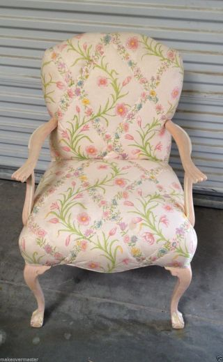 Vtg Pink Painted Bergere Chair Upholstered W/ Pink Floral Cotton - Cottage Chic photo