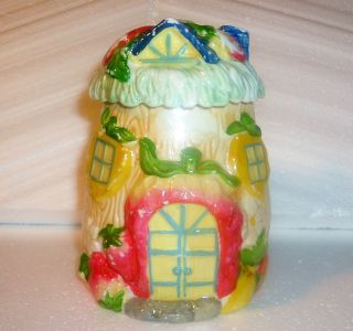 Antique Cottage Ware Biscuit Jar Tea Caddy Canister Cold Paint Fruit On Lid photo